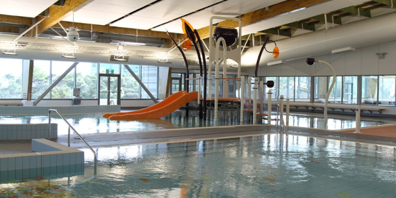 Photo of Pool area with Soundspheres suspended above the pool surface
